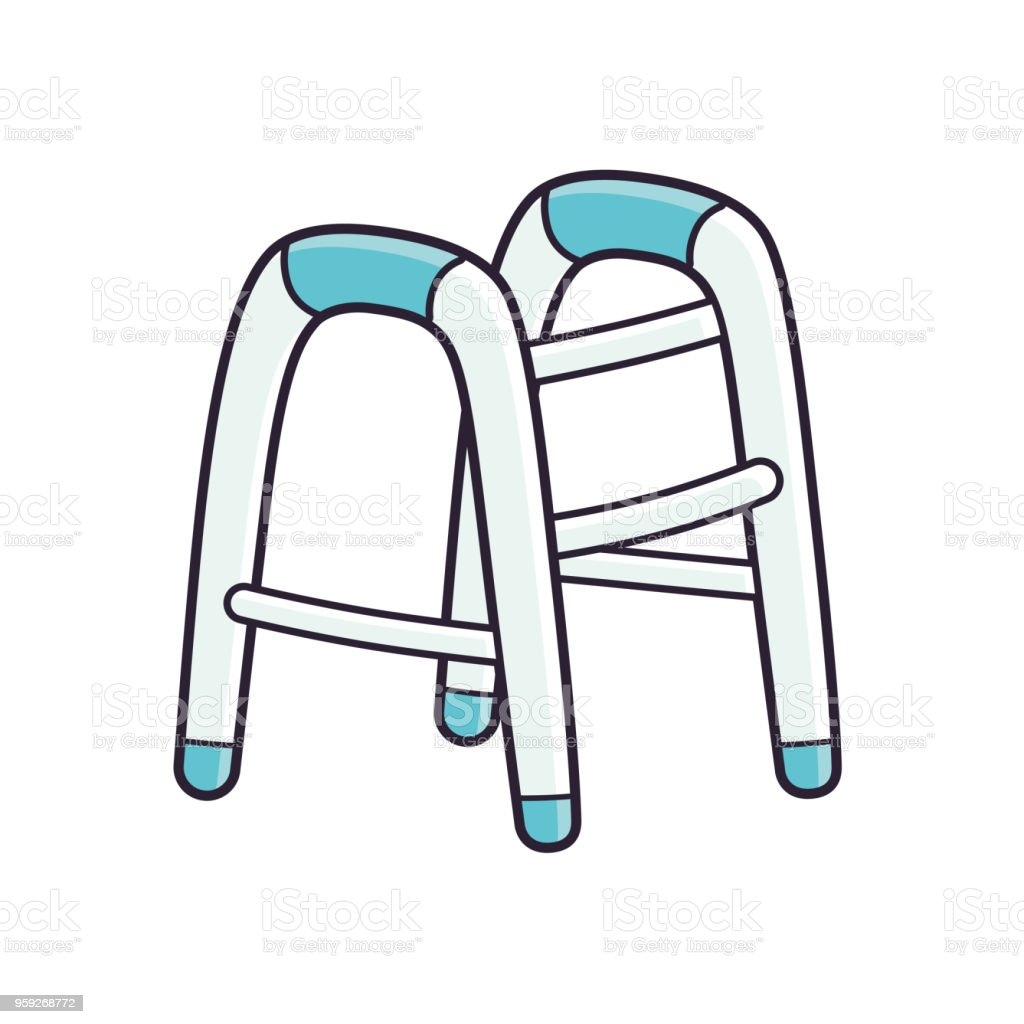 Walker para discapacitados - ilustración de arte vectorial