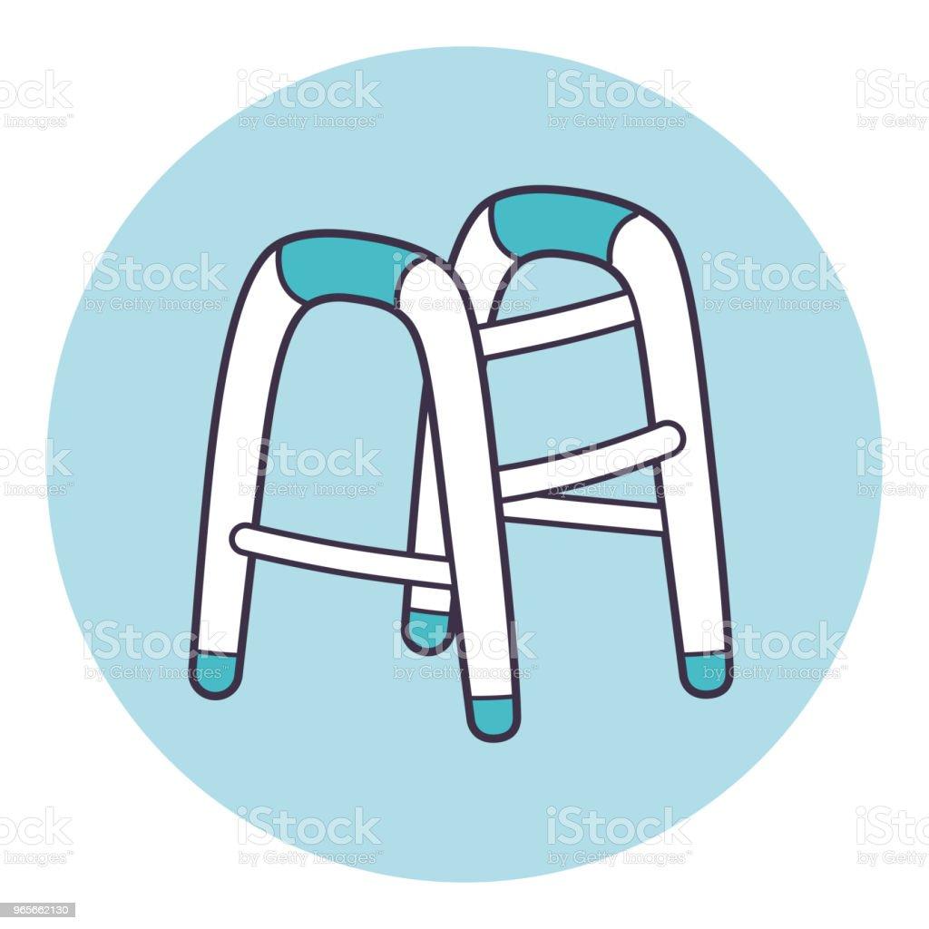 Andador para anciano o discapacitado icono - ilustración de arte vectorial