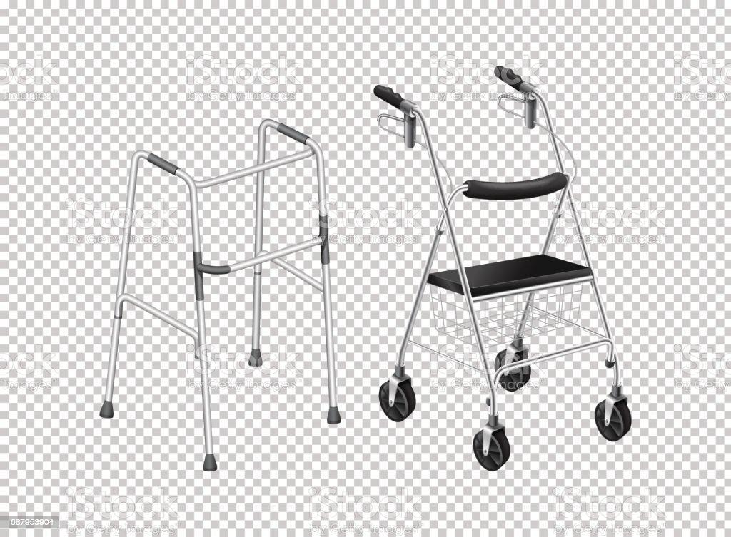 Walker with wheels for elders vector art illustration