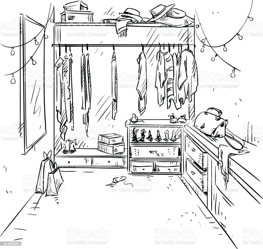 Superb Walk In Closet Drawing. Royalty Free Stock Vector Art
