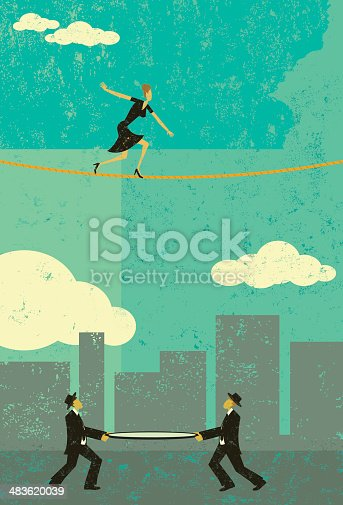 A retro businesswoman walking a tightrope with two men and a safety net underneath in case he falls. The people & rope and background are on separate labeled layers.