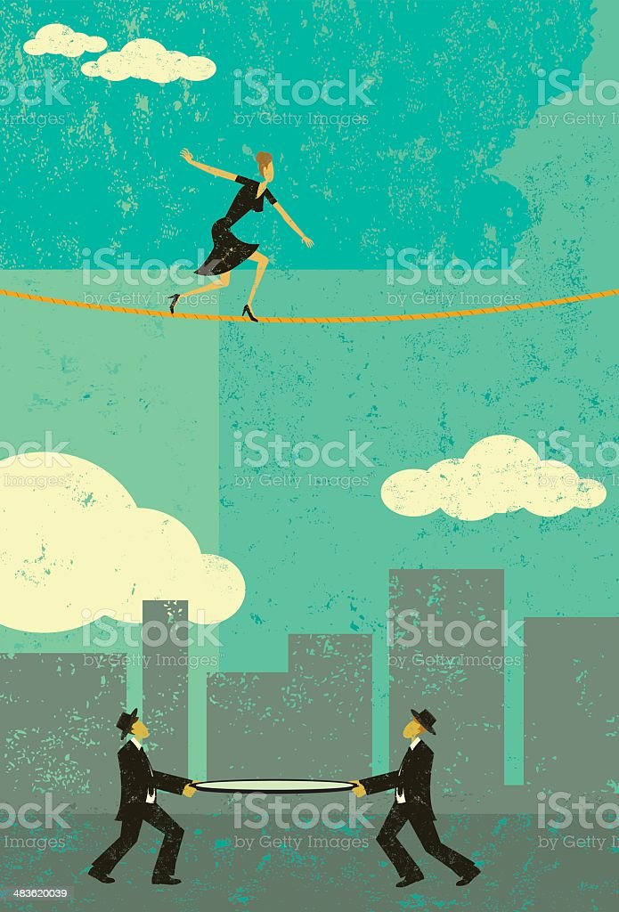Walking a tightrope向量藝術插圖