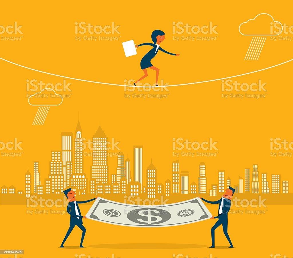 Walking a tightrope vector art illustration