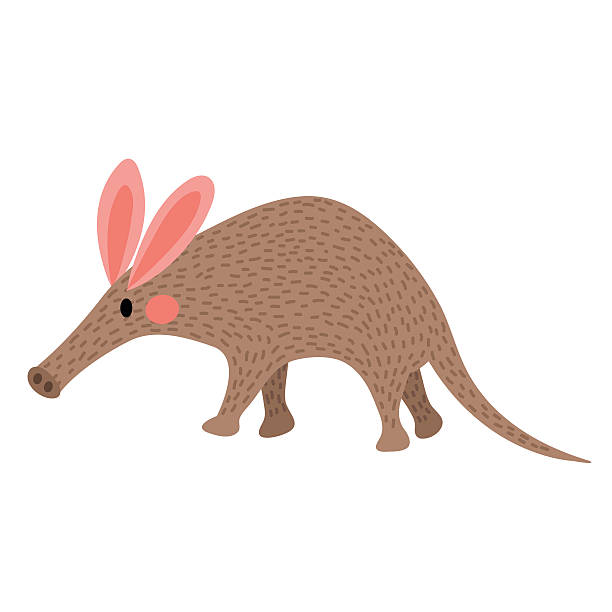 walking aardvark animal cartoon character vector illustration. - ameisenbär stock-grafiken, -clipart, -cartoons und -symbole