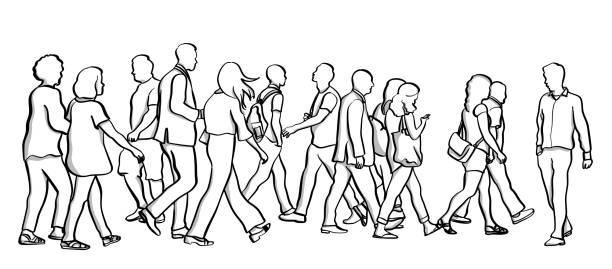 Walking Against The Crowd vector art illustration
