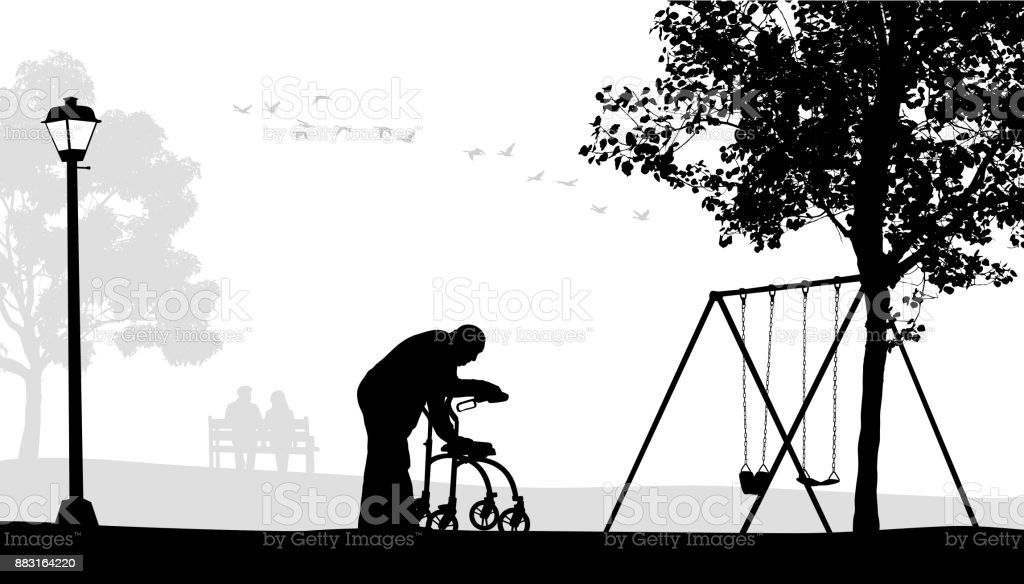 Walking Alone Elderly vector art illustration