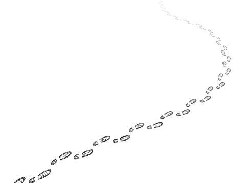 Walking away footsteps. Footpath perspective. Shoe prints steps way. Path tracking line. Going route pattern. Hiking itinerary. Silhouette feet imprints. Receding trail. Vector concept