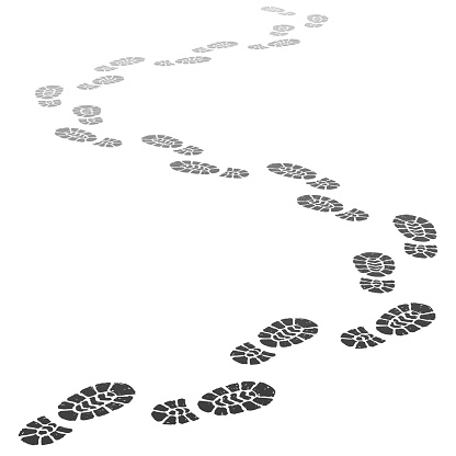 Walking away footsteps. Outgoing footprint silhouette, footstep prints and shoe steps going in perspective vector illustration