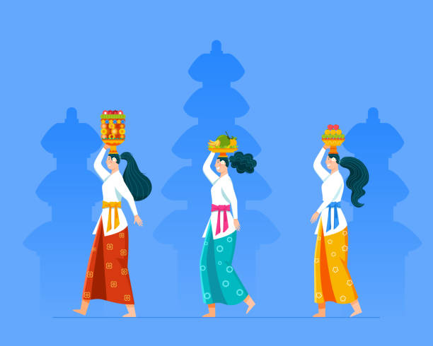 stockillustraties, clipart, cartoons en iconen met wandelen balinese meisje brengen fruit aanbod voor rite ceremonie - indonesische cultuur