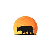 Walking Bear Concept Designs Illustration Vector Template. Suitable for Creative Industry, Multimedia, entertainment, Educations, Shop, and any related business.