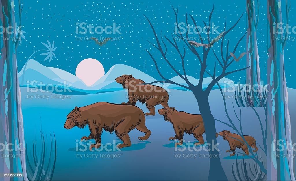 Walking Bear , vector art illustration
