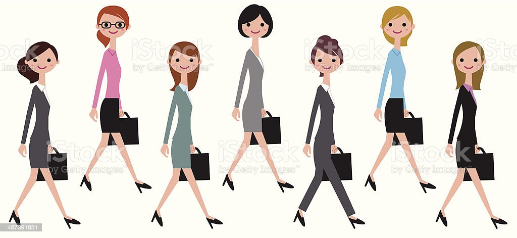 Walking buisness women royalty-free stock vector art