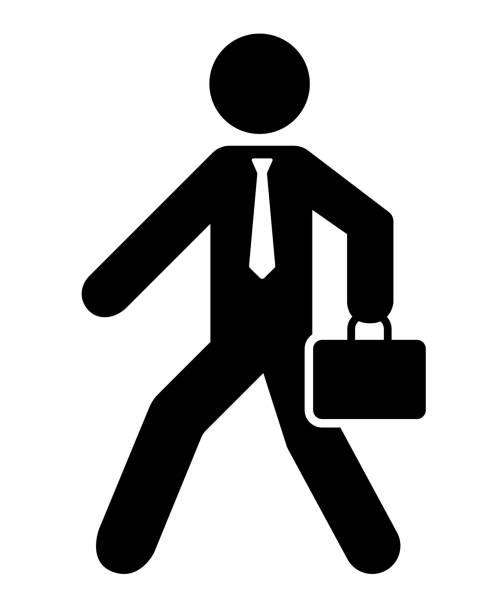 歩くビジネスマンのアイコン - 通勤点のイラスト素材/クリップアート素材/マンガ素材/アイコン素材