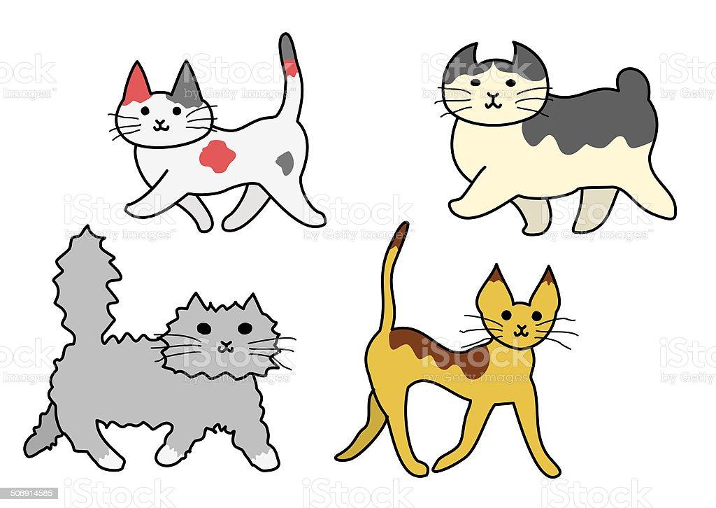 walking cats vector art illustration