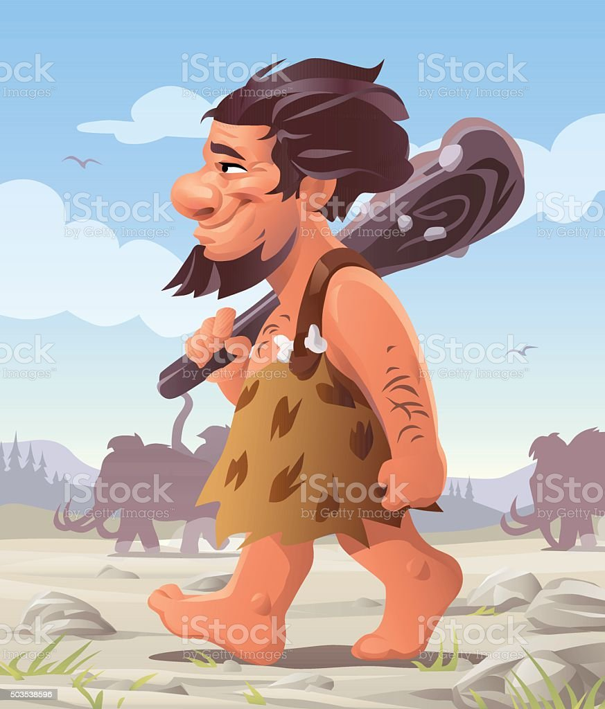 Walking Caveman vector art illustration