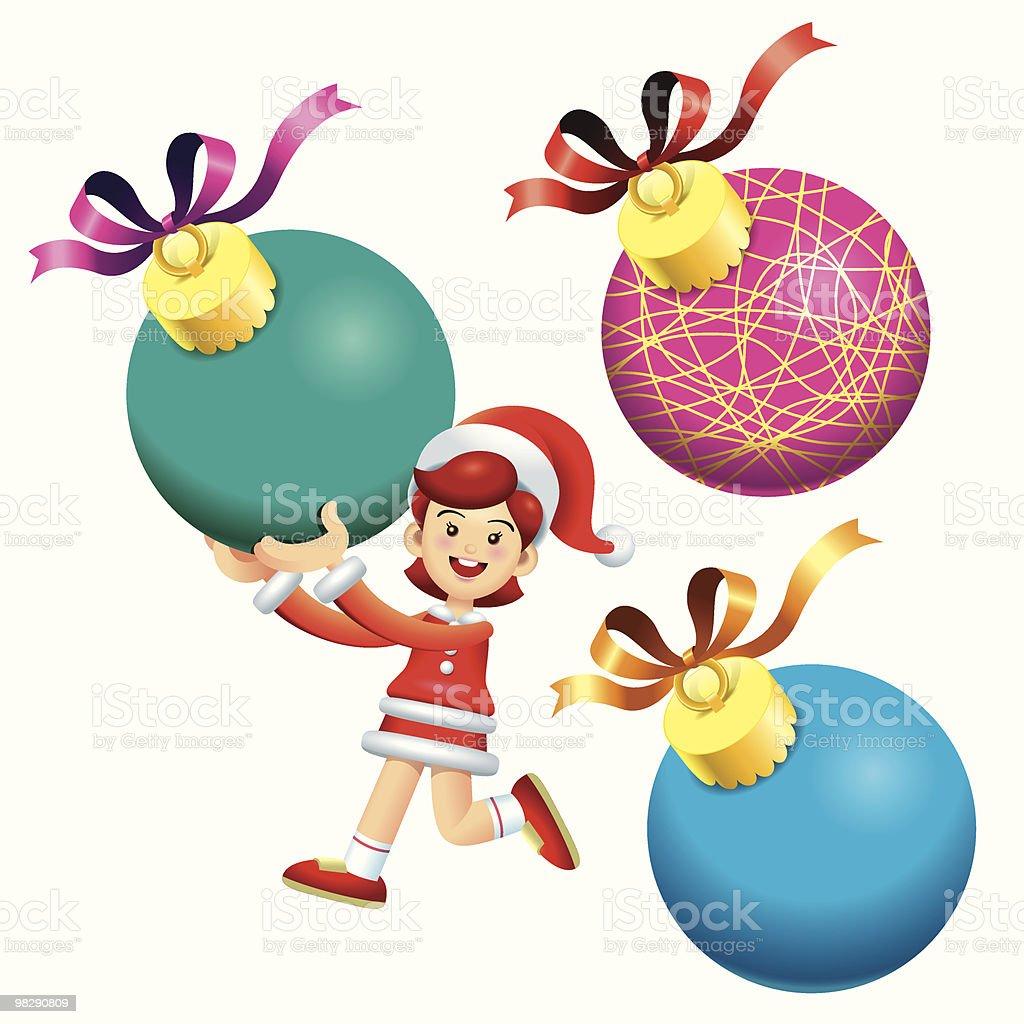 Palla di Natale ragazza a palla di natale ragazza a - immagini vettoriali stock e altre immagini di adolescente royalty-free
