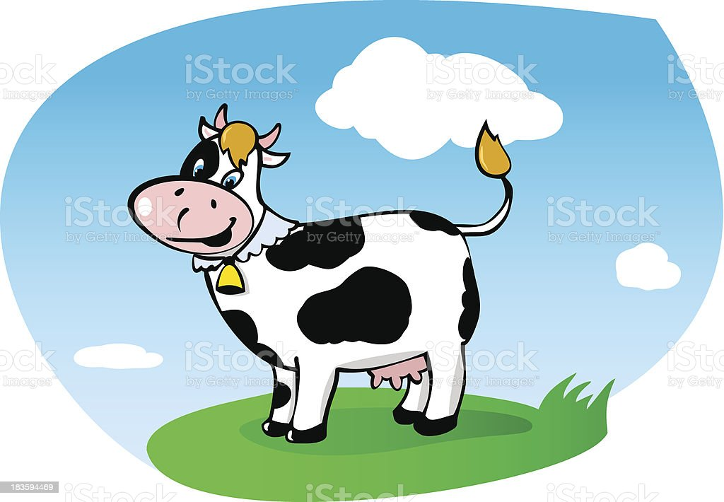 Walking cow on green grass. royalty-free stock vector art