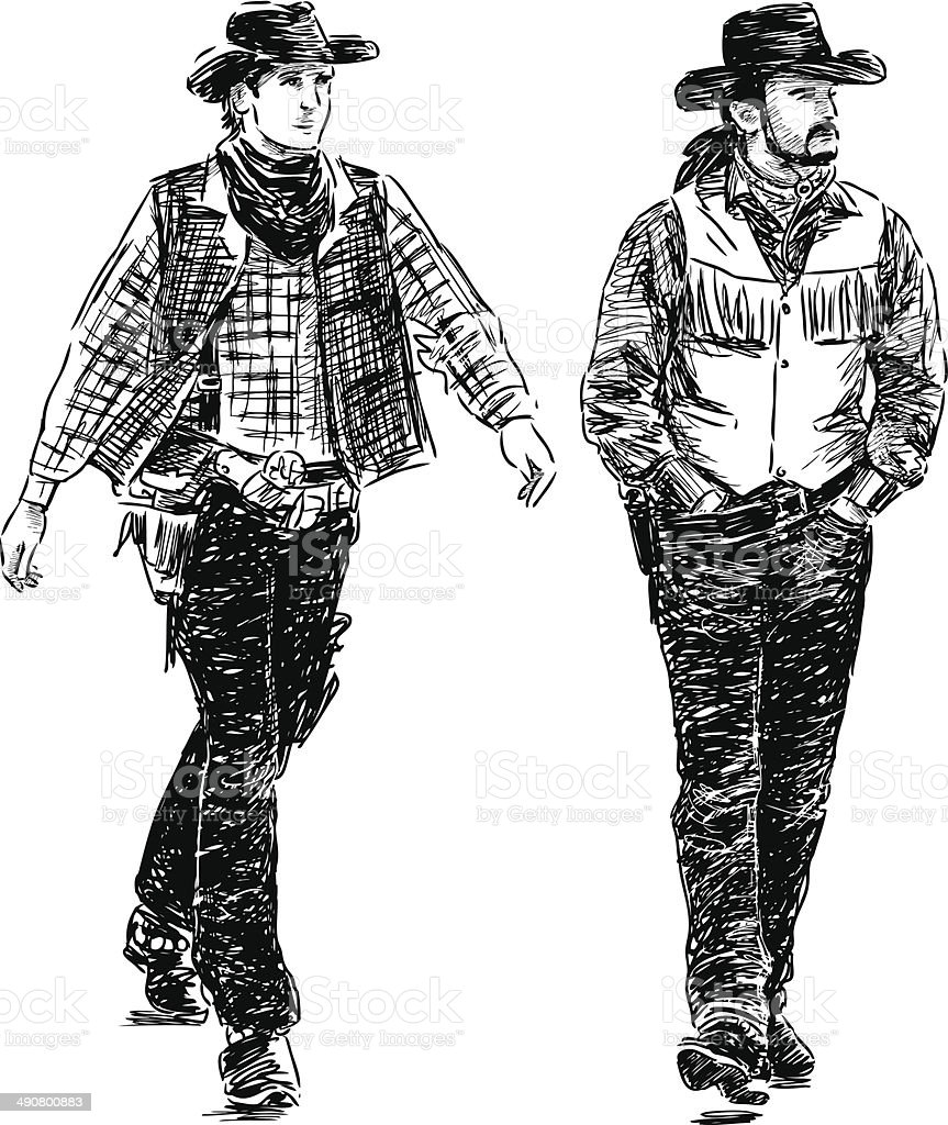 walking  cowboys royalty-free stock vector art