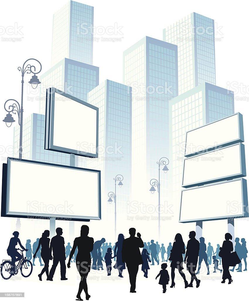 Walking Crowd vector art illustration