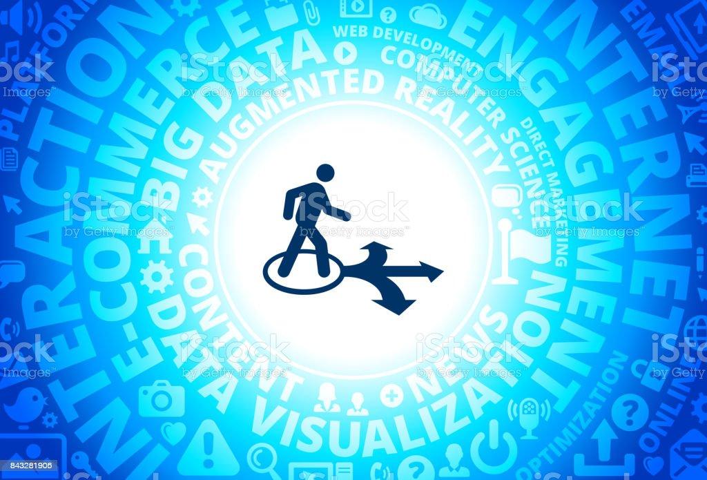 Walking Direction Icon on Internet Modern Technology Words Background vector art illustration