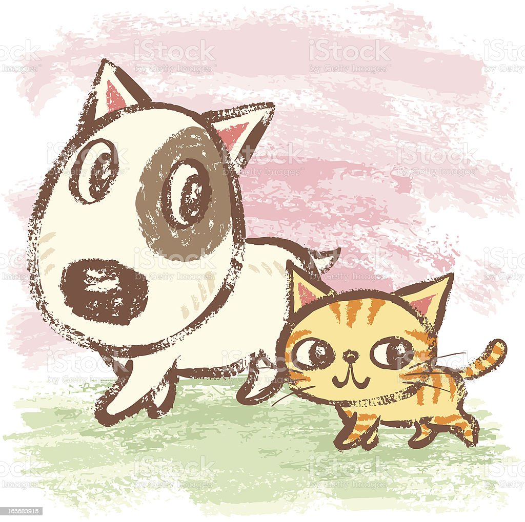Walking dog and cat vector art illustration