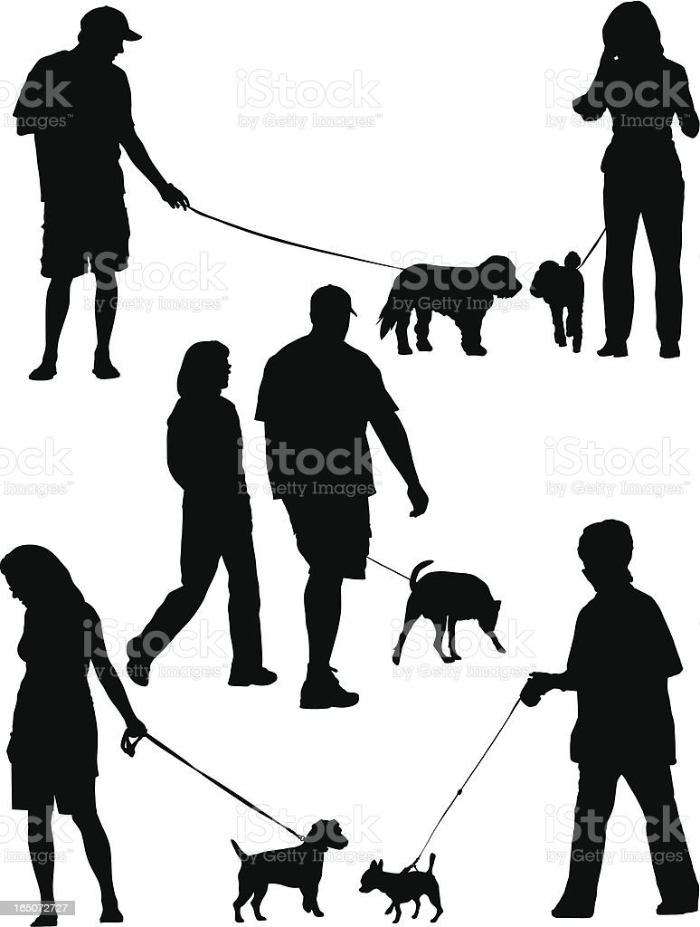 Walking Dogs royalty-free stock vector art