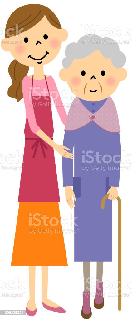 Pocos a ancianos, cuidados de enfermería - ilustración de arte vectorial