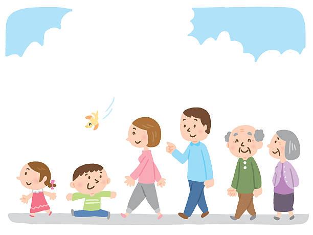 illustrazioni stock, clip art, cartoni animati e icone di tendenza di famiglia a piedi - nonna e nipote camminare