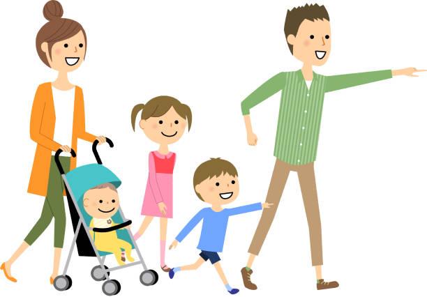 illustrazioni stock, clip art, cartoni animati e icone di tendenza di walking family - solo giapponesi