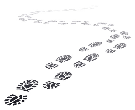 Walking far footprints. Outgoing footsteps perspective trail, walk away human foot steps silhouette, shoe steps track vector illustration