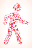 Walking for Breast Cancer Awareness Icon Pattern