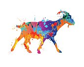 Walking goat silhouette of vector watercolor splash paint