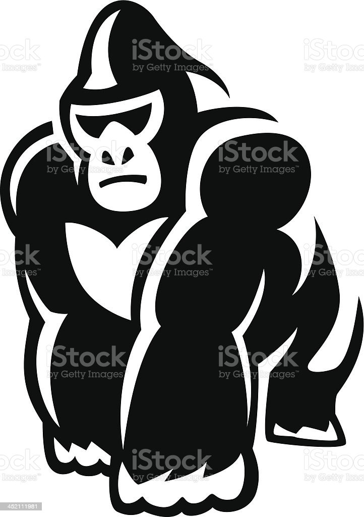 walking gorilla vector art illustration