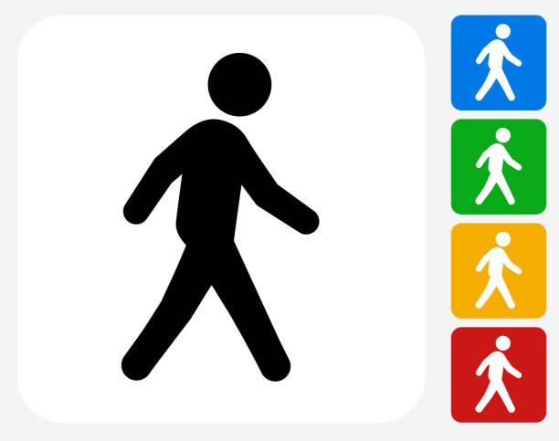 walking-symbol flache grafik design - fußgänger stock-grafiken, -clipart, -cartoons und -symbole