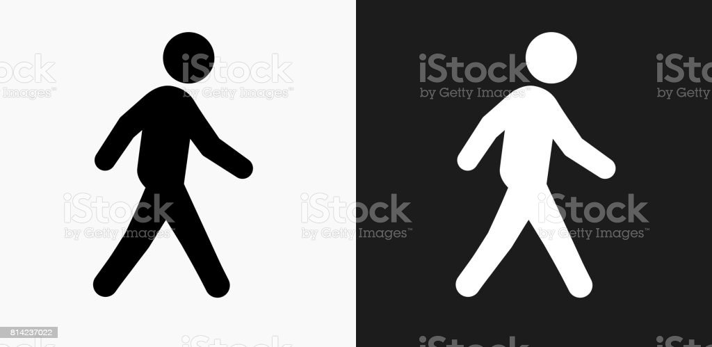 Walking Icon on Black and White Vector Backgrounds vector art illustration