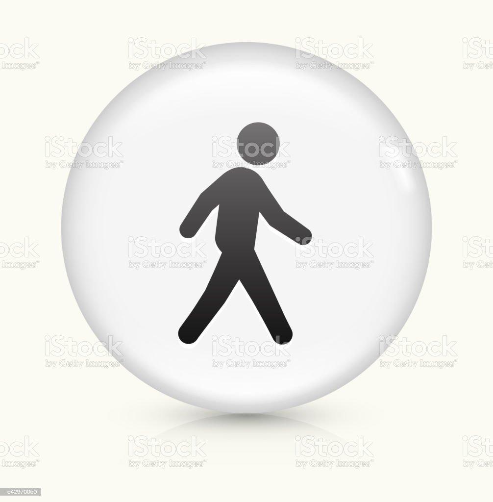Walking icon on white round vector button vector art illustration