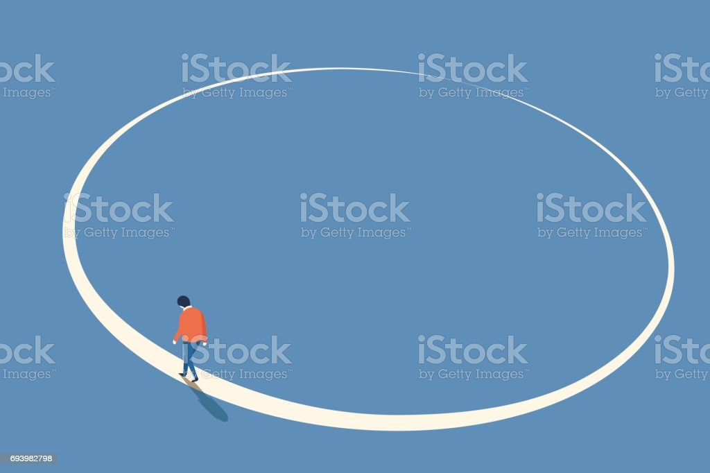 Walking in circle vector art illustration