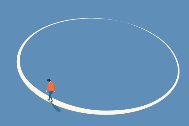 Walking in circle Man walking in circle from beginning and will end at the same point, abstract illustration in concept of lost way, endless journey, think or do something again, back to starting. eternity stock illustrations