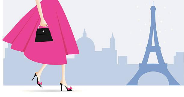 ilustraciones, imágenes clip art, dibujos animados e iconos de stock de pasos en parís - moda parisina