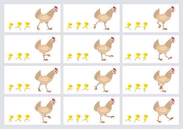 走淺棕色母雞和小雞動畫精靈板查出在白色背景 - gif 幅插畫檔、美工圖案、卡通及圖標