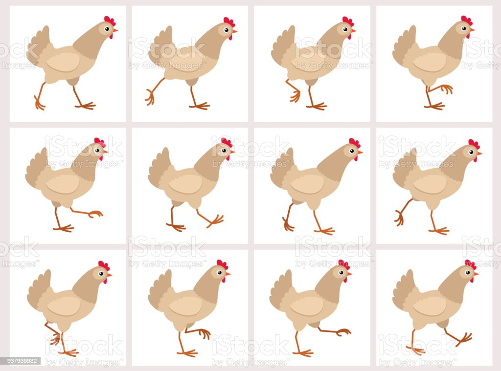Walking light brown hen animation sprite sheet isolated on white background vector art illustration