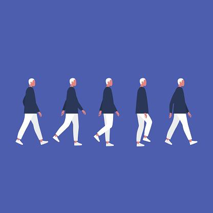 Walking male character. Animation set. Flat editable vector illustration, clip art.