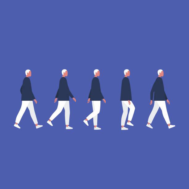 walking male character. animation set. flat editable vector illustration, clip art. - ходьба stock illustrations