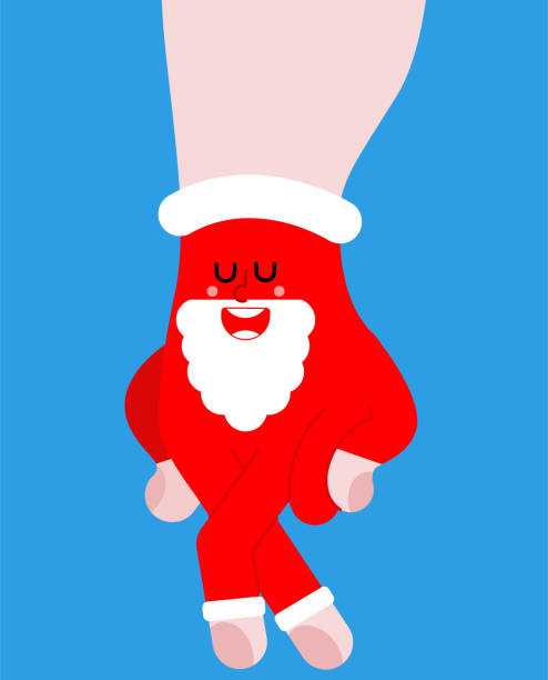 illustrazioni stock, clip art, cartoni animati e icone di tendenza di walking man fingers santa. small man made of hand. christmas and new year vector illustration - santa claus tiptoeing