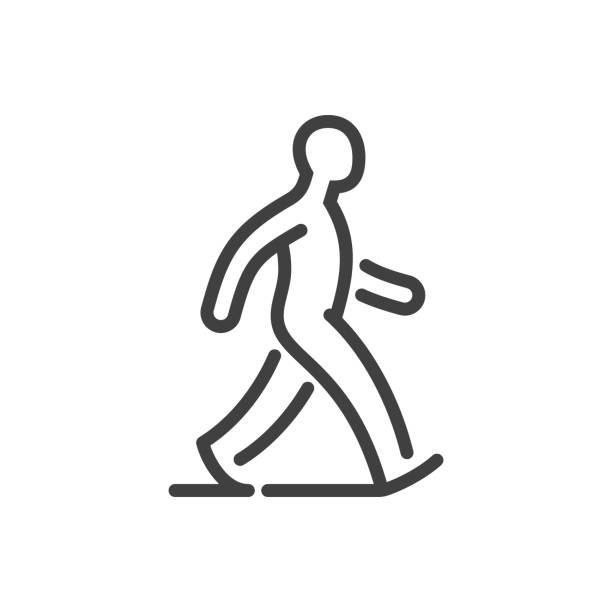 illustrazioni stock, clip art, cartoni animati e icone di tendenza di walking man line icon - marciapiede
