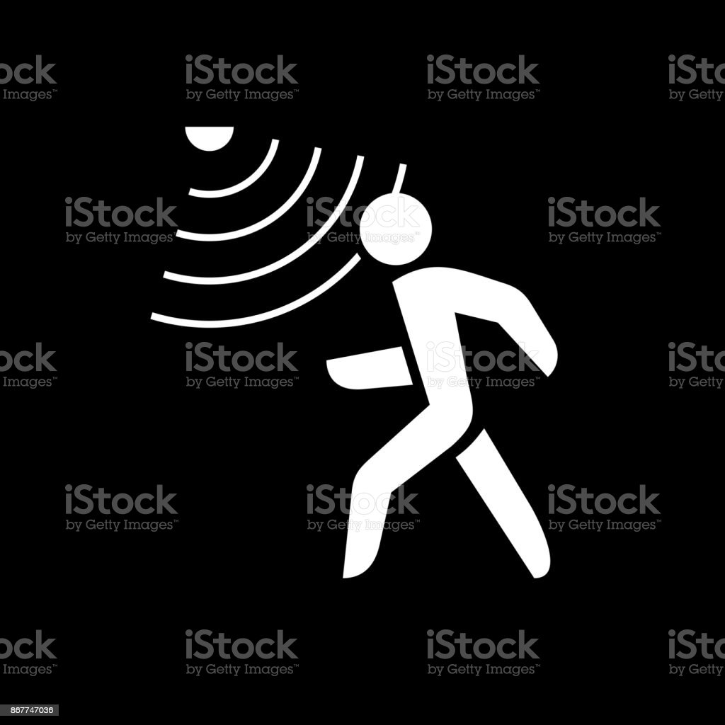 Walking man silhouette with motion sensor. White on black backgr vector art illustration
