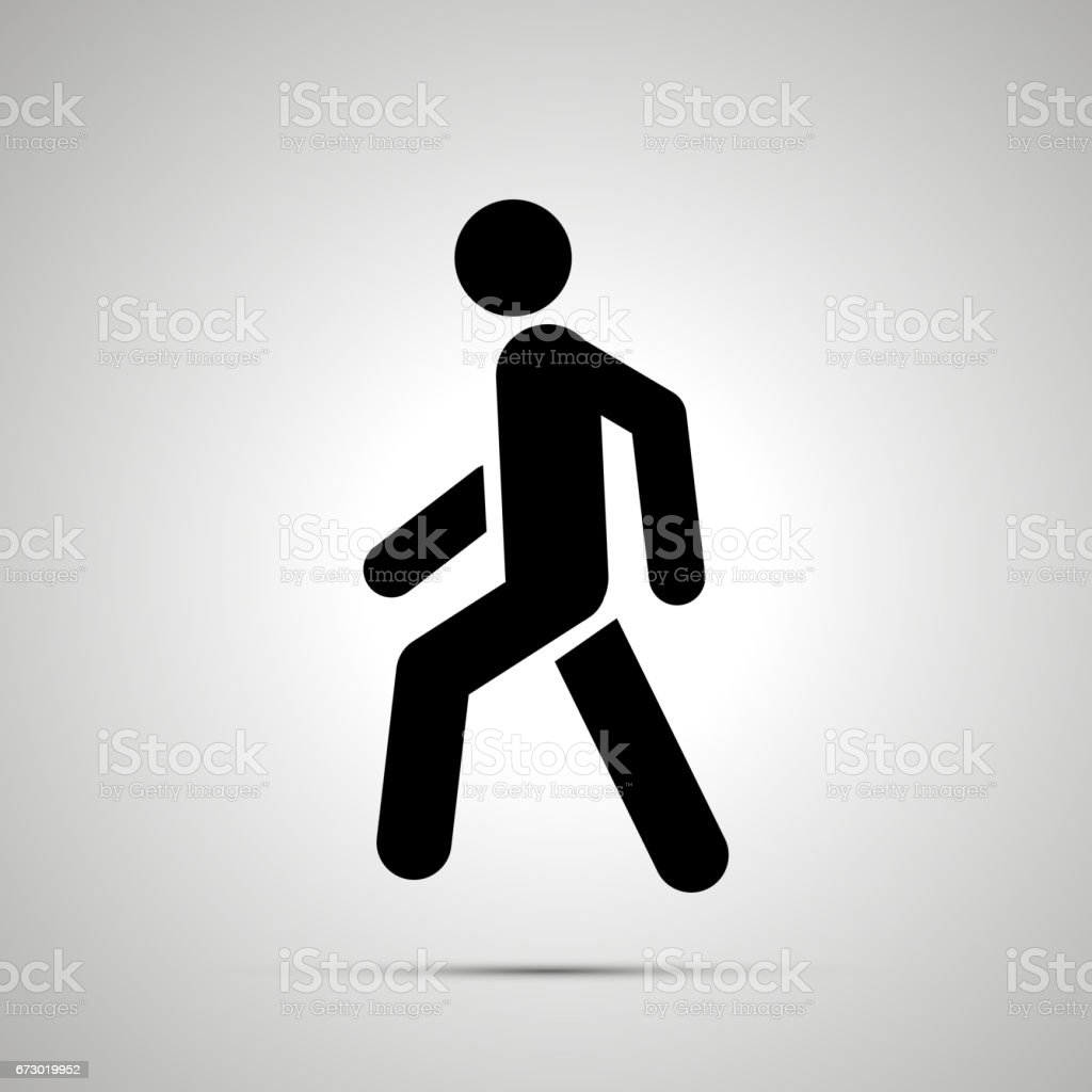Walking man simple black icon with shadow vector art illustration