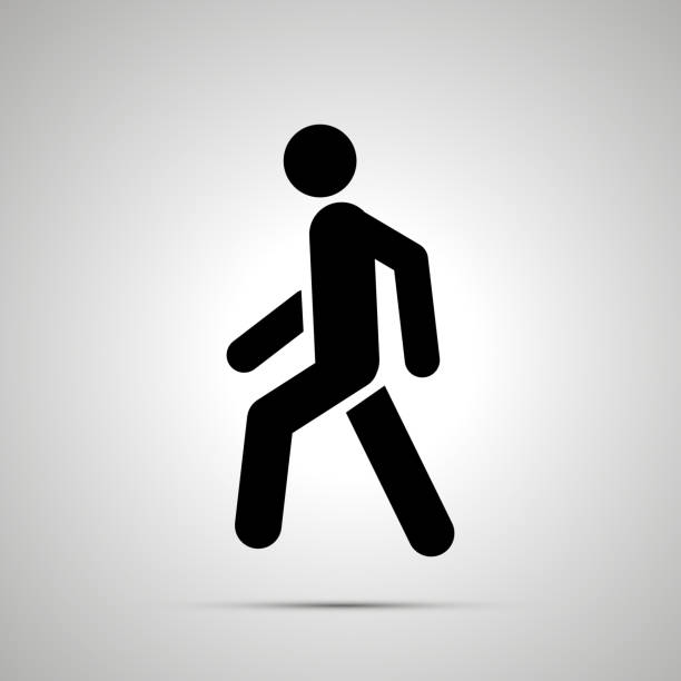 walking man simple black icon with shadow - crossing stock illustrations, clip art, cartoons, & icons