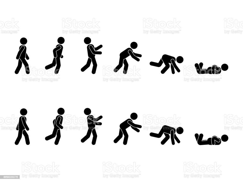 Curta homem stick figura pictograma conjunto. Posições diferentes de tropeçar e cair ícone definir postura símbolo em branco - ilustração de arte em vetor