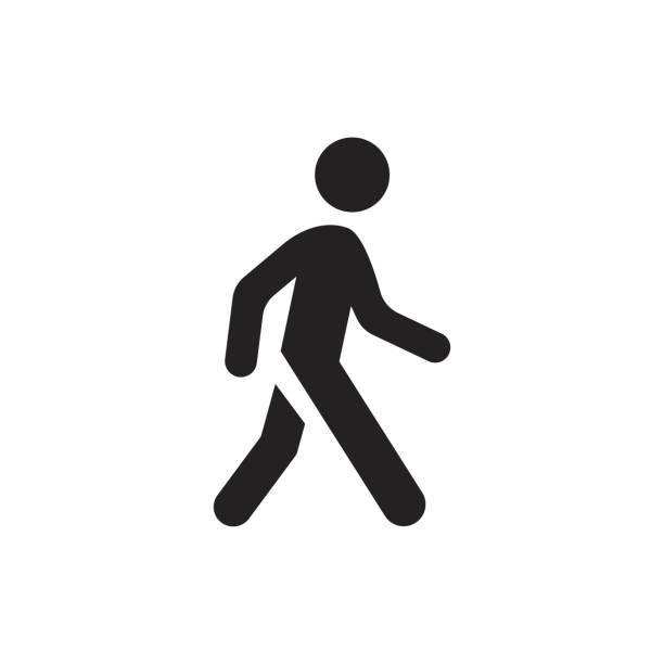 ilustraciones, imágenes clip art, dibujos animados e iconos de stock de icono de vector de hombre a pie. la gente camina muestra ilustración. - despedida